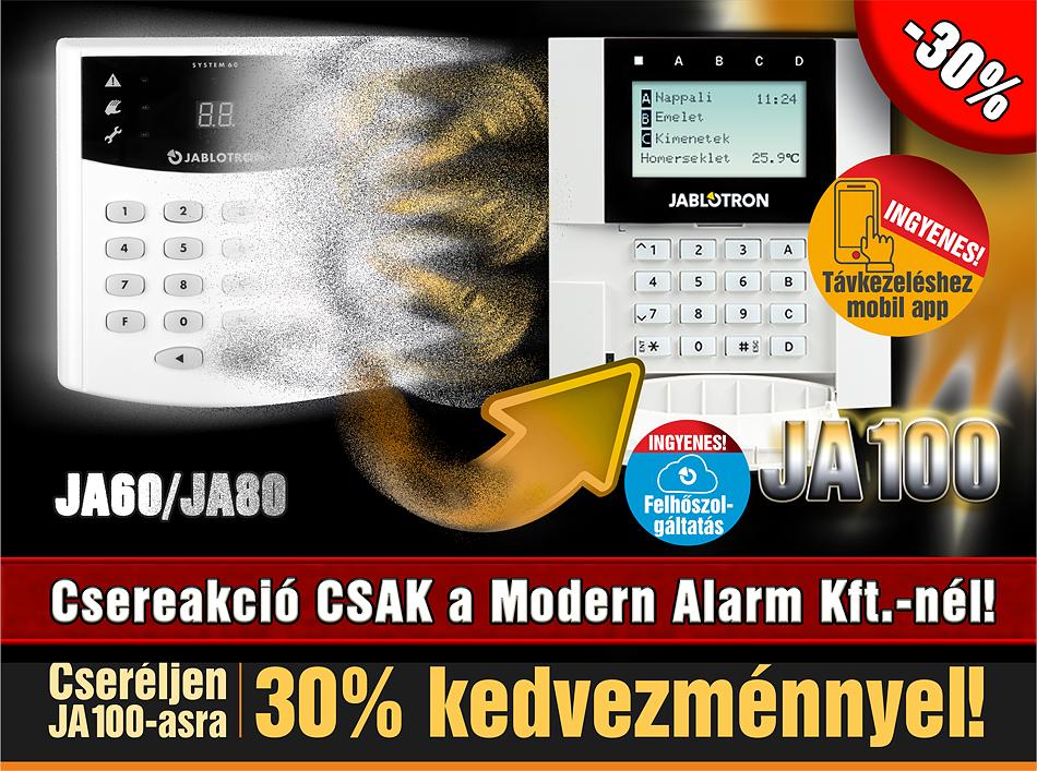 Jablotron JA60/80 csereakció csak a Modern Alarmnál!