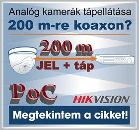 Hikvision PoC analóg kamera jeltovábbítás koaxiális kábelen, 200 méterre